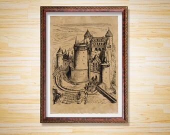 Medieval decor Castle print Stronghold poster