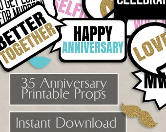 35 Anniversary Printable photo booth printable props, anniversary parties printables, wedding anniversary party ideas, printable instant