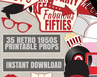 35 Retro 50s Theme Party Props, Red and Cream Diner Party photo booth props, retro photobooth diy decor, 1950s printables instant download