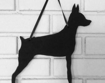 Miniature Pinscher - Handmade Min Pin Chalkboard  Wall Hanging - Chalkboard Silhouette - Shadow - Country Decoration - Dog