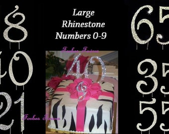 Large Real Rhinestone Numbers Silver Birthday Anniversary Special Cake Topper Number 0 -9
