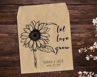Sunflower Seed Packet, Personalized Favor, Custom Seed Packet, Rustic Wedding, Let Love Grow, Seed, Custom Favor, Seed Favor x 25