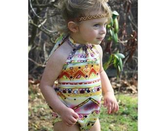 Multi Aztec Print Ruffle Back Baby Romper - Sunsuit