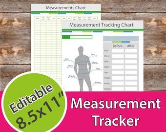 Meashurement Tracker, Measurement Chart, Fitness Planner for Men,
