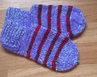 Knitted slippers slippers / socks Purple&Lightblue with red/lightblue streaks