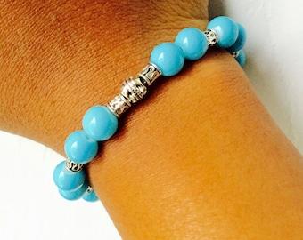Turquoise Blue Bead Bracelet/Antique Silver Blue Bracelet/Beaded Bracelet/Gift for Her/Stretch Bracelet/Summer Beach Bracelet