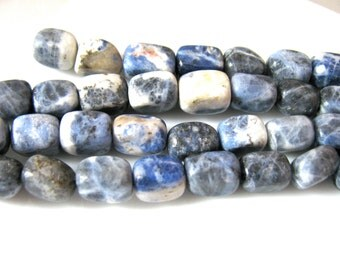Sodalite nuggets, 22 beads, blue and white, 6x9mm - 63