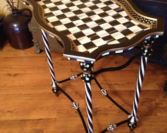 Black White Checked Table Hand Painted Whimsical Checks