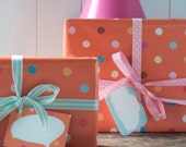 Spotty Dotty, fun party paper,a glossy birthday wrapping paper, happy orange paper with bright coloured spots, cute gift wrap
