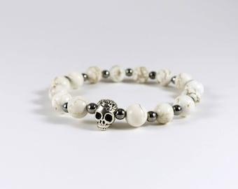 Howlite and Skull Bracelet
