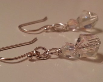 silver plated fish hook earrings with stacked glass crystals