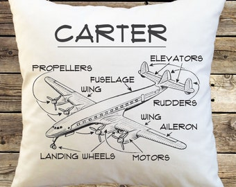 Personalized Airplane Pillow Cover; Custom Airplane Pillowcase; pilot; airline; birthday gift; transportation airplane present airplane gift