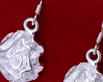 Silver Plated Floral Rose Dangle Earrings