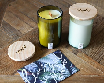 Recycled wine bottle candle - Lime, Basil + Mandarin soy wax with wood wick