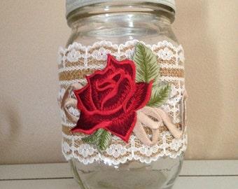 Red Flower Mason Jar