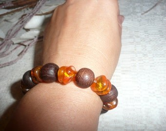 Vintage Bracelet in Baltic Amber and wood, 1970s,