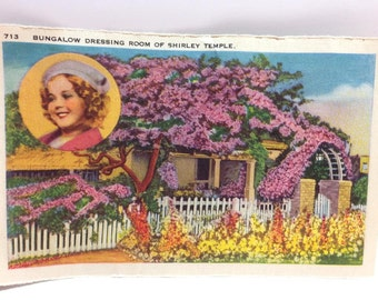 Shirley Temple's Bungalow Postcard-Size Folio Page...reverse is Loretta Young's Home! 1930'S Nostalgia!
