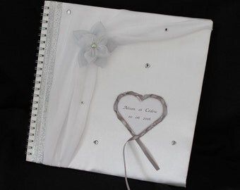 """Golden book """"STRASS"""" marriage, white and gray, custom"""