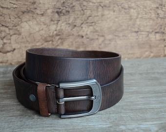 Leather Belt , Mens Belt , Distressed Belt , Durable, Full Grain Belt , Dark Brown