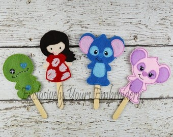 Lily and Mitch Felt Stick Puppets Set of 4 - Pretend Play - Party Favors - Birthday - Finger Puppets - Travel Toy - Blue Alien - Pink Alien