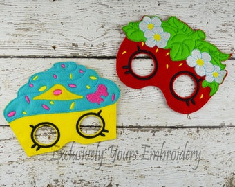 Strawberry and Cupcake Children's Felt Mask  - Costume - Theater - Dress Up - Halloween - Face Mask - Pretend Play - Party Favor