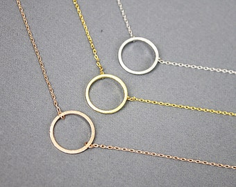 Circle Necklace Dainty Circle Charm Necklace Simple and Modern Necklace Bridesmaid Gift Birthday Gift