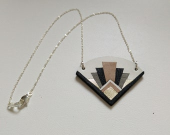 Leather and Silver Art Deco origami necklace