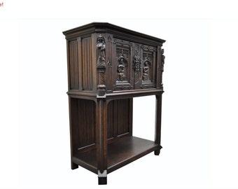10% Off Sale! Antique Gothic Jacobean Renaissance Revival Belgian Figural Carved Oak Cabinet Vintage