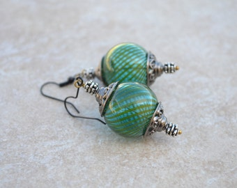 Blue Teal Striped Hollow Lampwork Ball Earrings