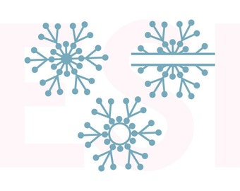 Snowflake monogram svg, design set, SVG DXF, EPS, Christmas svg files, use with Silhouette and Cricut Explore, Winter svg files, Snow svg