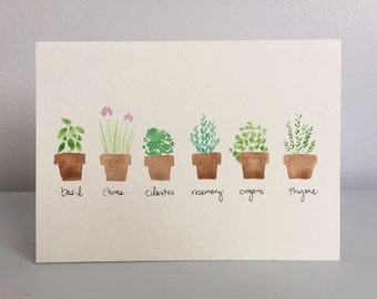 Potted Herbs hand painted watercolor card