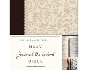 NKJV - Journal The Word Bible - Imitation Leather - Brown/Cream - Red Letter Edition - Perfect for Bible Journaling