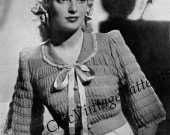 Ladies Bed Jacket ... 1940's Knitted Bed Jacket ... PDF Knitting Pattern ... Very Pretty Vintage Pattern ... Vintage Clothing
