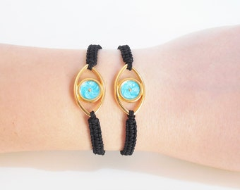 greek evil eye bracelet, blue evil eye charm, greek mati, greek jewelry, evil eye jewelry, protection evil eye bracelet, macrame bracelet
