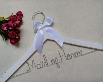 Maid of Honor hanger,personalized bridal hanger,custom wooden wedding hanger, personalized bridal shower gift,bride hanger,bridesmaid hanger