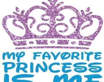 Glitter my favorite Princess is Me heat transfer, glitter crown, princess heat transfers, princess iron on