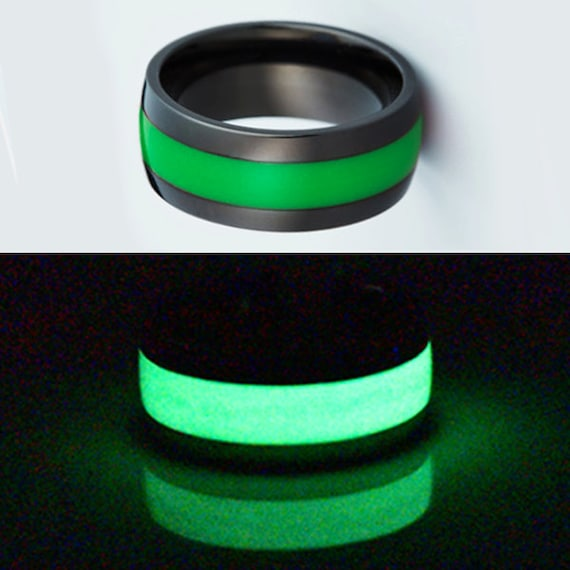 Black titanium glow wedding ring for men mens by starfirerings for Glow in the dark wedding rings