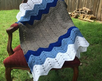 Crocheted Chevron Baby Blanket, Chevron Baby Blanket, Blue Baby Blanket, Chevron Boys' Baby Blanket