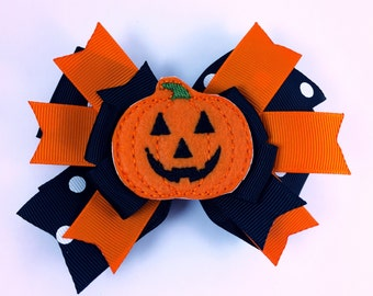 Pumpkin hair bow, halloween hair bow,  hair bow,  fall hair bow