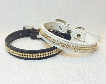 X-SMALL Rhinestone Dog Collar, Swarovski Rhinestones Dog Collar, Gold Pet Collar, Black or White Bling Dog Collar with Rhinestone Buckle