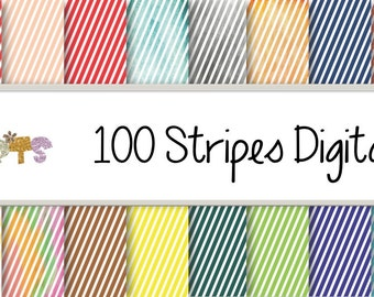 100 Diagonal Stripes Papers