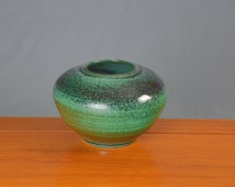 Green & Black Flower Vase, Hand Thrown Porcelain Pottery, Ceramic Vase, Centerpiece, Home Decor | Caldwell Pottery