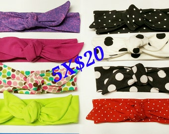 GRAB BAG SURPRISE, Cotton lycra Top Knot,Tie,Knotted Headwrap,Baby Knot Headband,Gray,Black Top knot,Blue baby head,Top Knot,Dolly Bow