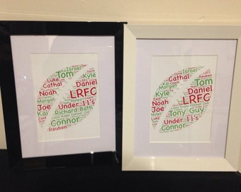 Rugby Ball Word Collage, Six Nations Rugby, Birthday Gift For Him, Rugby Fan, Personalised Home Decor, Fathers Day