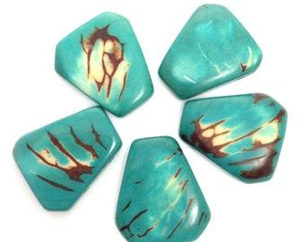 Tagua, squares for bracelets, turquoise, 5 pieces, 28