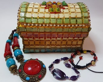 Large Golden Mosaic Jewellery Box (MJB 0001)