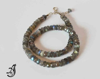 """Labrodorite Faceted Roundale  sterling silver Necklace 18 """""""