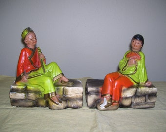 Asian Chalkware Bookends Rigacci's Art Works Shabby Chic Bookends Vintage