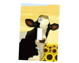 Rustic cow image Light Switch plate cover wall art home decor _ many sizes available Country scene modern rustic Art farm animals Nature art
