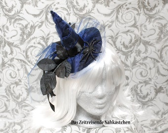 Witch's hat, mini hat, witch hat, Gothic, Lolita, blue